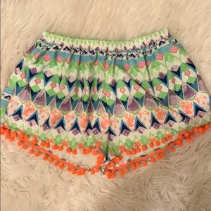 Colorful Pom Pom Umgee Shorts